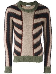 Andrea Pompilio Striped Brushed Jumper Nude Neutrals