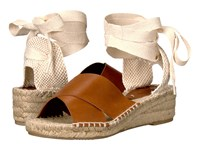 Soludos Crisscross Demi Wedge Camel Leather Women's Wedge Shoes Tan