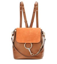 Chloe Faye Leather And Suede Backpack Brown