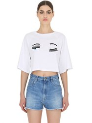Chiara Ferragni Flirting Printed Cotton Cropped T Shirt