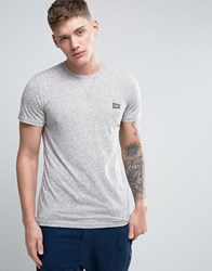 Jack And Jones Originals T Shirt In Marl Cotton With Chest Logo Light Grey Melange