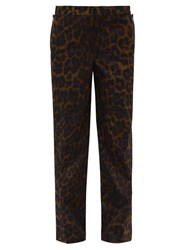 Burberry Leopard Print Straight Leg Cotton Trousers Brown