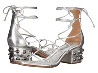 Michael Kors Ayers Silver Metallic Nappa Domed Studs Women's Dress Sandals