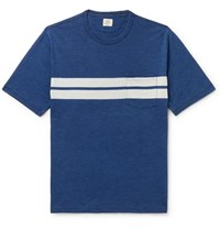 Faherty Striped Slub Cotton Jersey T Shirt Indigo