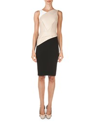 Roland Mouret Arley Colorblock Perforated Panel Dress Beige White Black Beige White Blk