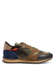 Valentino Rockrunner Camouflage Suede And Leather Trainers Orange Multi