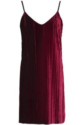 Tart Collections Oda Pleated Velvet Mini Dress Merlot