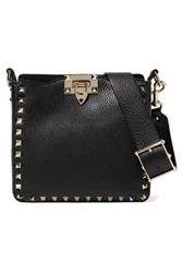 Valentino Garavani The Rockstud Hobo Mini Textured Leather Shoulder Bag Black