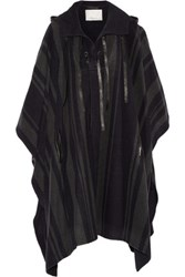 3.1 Phillip Lim Leather Trimmed Wool Blend Hooded Poncho Midnight Blue