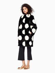Kate Spade Polka Dot Faux Fur Coat Black Cream