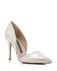 French Connection Elvia Metallic D'orsay Pointed Toe Pumps Silver