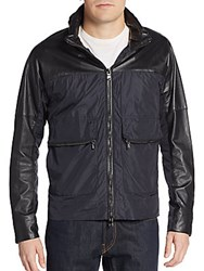 Michael Kors Nylon And Leather Stowaway Hood Jacket Black