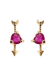 Loren Stewart Ruby And Yellow Gold Heart Earrings