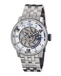 Gv2 48Mm Men's Motorcycle Sport Automatic Bracelet Watch Silver