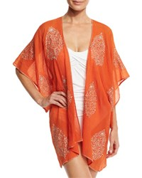 Flora Bella Auberge Embroidered Kimono Coverup Orange