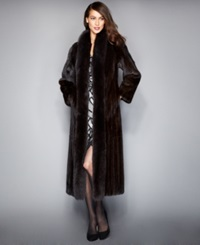 The Fur Vault Fox Trimmed Mink Maxi Coat Mahogany Brown