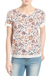Hinge Women's Embroidered Floral Print Top Ivory Purple Mesa Retro Floral