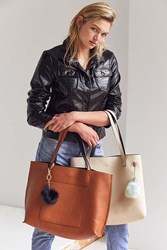 Urban Outfitters Reversible Vegan Leather Pompom Tote Bag Honey
