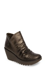 Fly London Women's 'Yip' Wedge Bootie Bronze Chocolate Leather