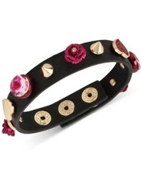 Betsey Johnson Gold Tone Pink Stone Heart And Flower Black Leather Snap Bracelet