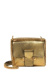 Alexander Mcqueen Twin Skull Small Leather Satchel Antique Gold