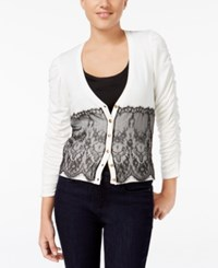 Xoxo Juniors' Ruched Sleeve Lace Cardigan Ivory