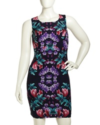 Single Dress Single Floral Print Sheath Dress Navy Multi
