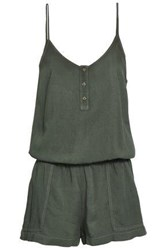 Monrow Woman Gathered Brushed Twill Playsuit Army Green
