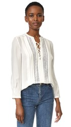Rebecca Taylor Long Sleeve Silk Top Chalk Chalk