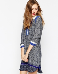 Aryn K Long Sleeve Printed Dress With Collar Detail Navycobaltecru