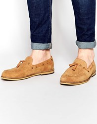 Frank Wright Suede Tassel Loafers In Tan Tan