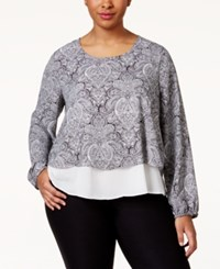 Ing Plus Size Printed Layered Top Off White