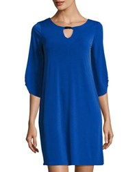Neiman Marcus 3 4 Sleeve Keyhole Shift Dress Blue