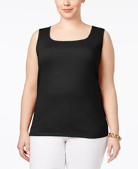 Karen Scott Plus Size Cotton Square Neck Tank Top Only At Macy's Deep Black