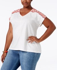Styleandco. Style Co. Plus Size Dolman Sleeve Embroidered Top Only At Macy's Chevron Emblem White