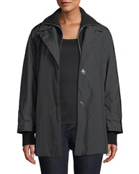 Lafayette 148 New York Arie Zip Front Parka Jacket W Knit Zip Out Collar Black