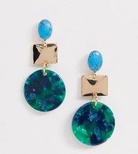 Accessorize Tier Green Resin Drop Earrings Multi