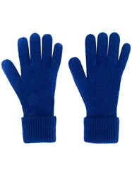 N.Peal Ribbed Gloves Blue