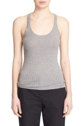 Dkny Rib Knit Cotton Racerback Tank Gray