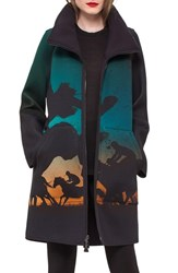 Akris Women's Reversible Turf Print Neoprene Parka
