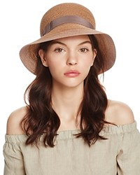Aqua Jute Cloche Hat With Ribbon Trim 100 Exclusive Natural Brown