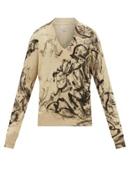 Rochas Marble Dyed V Neck Cotton Knit Sweater Light Brown