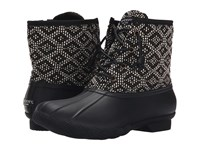 Sperry Saltwater Prints Black White Tribal Weave Women's Rain Boots