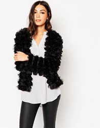 Traffic People Faux Fur Jacket Black