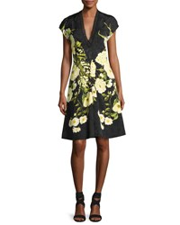 Naeem Khan Deep V Cap Sleeve Floral Cocktail Dress Black