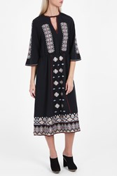 Vilshenko Embroidered Silk Dress Blk Multi