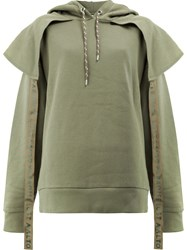Aalto Hoodie With Panels And Straps Cotton Viscose Green