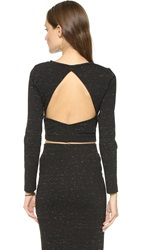 David Lerner Speckled Crop Top Black Speckle