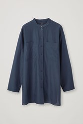 Cos Relaxed Silk Blend Grandad Shirt Blue