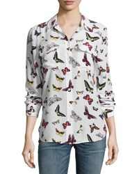 Equipment Slim Signature Butterfly Print Long Sleeve Shirt White White Pattern